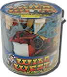 Wild West Cowboys and Indians Playset: 104 Piece Bucket of 2 inch Figures, Horses, Wagons, Teepees, and Accessories - 1:35 scale