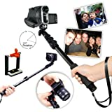 First2savvv ZP-188A01 black Self-portrait extendable telescopic handheld Pole Arm monopod Camcorder/Camera/mobile phone tripod mount adapter bundle for Canon PowerShot G12