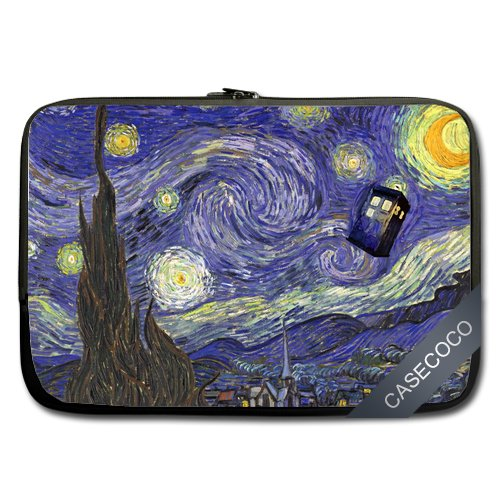 CASECOCO(TM) - Doctor Who Tardis in Starry Night Neoprene 13/13.3 Inch Laptop / Notebook Computer / MacBook / MacBook Pro Sleeve Case,Twin Sides