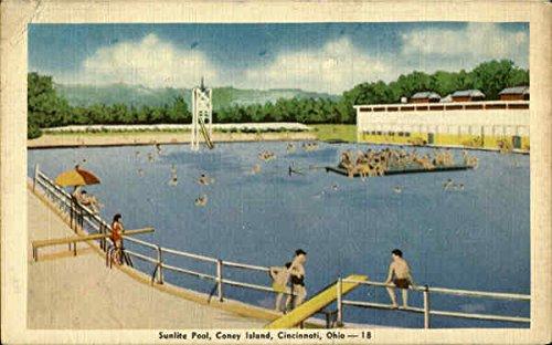 Sunlite Pool, Coney Island Cincinnati, OH Original Vintage Postcard