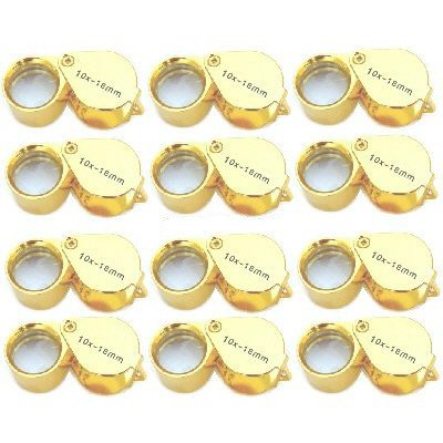 Lot of (12) 10x Jewelers Eye Loupes Gold Tone Perfect for Watch Coin Stamp Inspection Tool