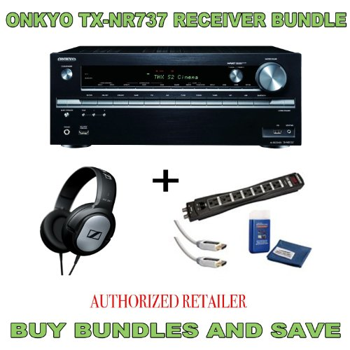 Onkyo Tx-Nr737 7.2-Channel A/V Receiver, Sennheiser Hd201 Headphones Plus Monster Surge Protector Hdmi Bundle