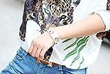Modern Fantasy Lovely Princess Cat Metal Buttons Leather Adjustable Wrap Bracelet (white)