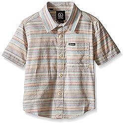 Volcom Little Boys' Ledfield Short Sleeve Shirt, Melon, 5