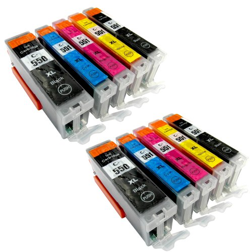 10 Druckerpatronen PGI-550XL CLI-551XL für Canon Pixma iP7250 MG5450 MG6350 MX725 MX925 kompatibel zu PGI550BK , CLI551C , CLI551M, CLI551Y und CLI551BK MIT CHIP und Füllstandanzeige der Marke Youprint®