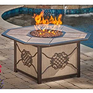 Heritage aluminum gas burning fire pit with for Amazon prime fire pit