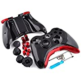 Polished Glossy Black Full Housing Shell with Red Buttons Parts Tools For Xbox 360 Controller