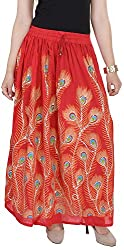 Soundarya Women's Cotton Skirt (Red)
