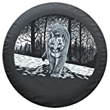 27&#8243; Mountain Lion Spare Tire Cover &#8211; Boomerang Wildlife Series &#8211; Premium Quality Soft Cover made with Haartz Black Denim Vinyl