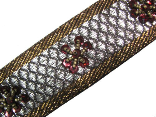 Metallic Bronze Beaded Trim Copper maroon sequins Ribbon 3 Yard Lace Sewing Craft
