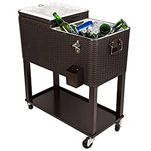 HIO 80 Qt Outdoor Patio Cooler Table On Wheels, with Shelf, Dark Brown Wicker from HIO