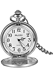 Mudder Classic Smooth Vintage Silver Steel Mens Pocket Watch Xmas Gift