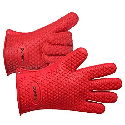 PUREFLY Silicone Heat Resistant Gloves Grilling BBQ Gloves for Cooking, Baking, Smoking & Potholder Oven Mitts?Best Heat Protection