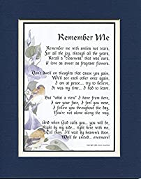 Memorial Gift, #96, Touching 8x10 Bereavement Poem, Double-matted in Navy/white. Enhanced with Watercolor Graphics. A Sympathy Gift.