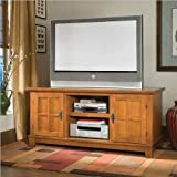 Entertainment TV Console with Cabinets in Cottage Oak Finish