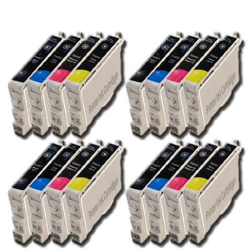 4 Sets = 16 Epson T0555 Compatible Printer Ink Cartridge for Epson Stylus Photo RX420 RX425 RX520 R240 R245 RX450 Printers (4x Black, 4x Cyan, 4x Magenta, 4x Yellow) - Same Day Post, High Capacity, Best Quality, Fully Chipped, Ready For Use, 100% Money Ba