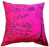 "Artiwa Classic Fuchsia 18""x18"" Canvas Cotton Sofa Couch Throw Decorative Accent Pillow Case with Vintage French Script Paris Postcard Design"