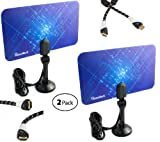 HomeWorx 2 Pack HDTV Digital Flat Antenna UHF / VHF (HW110AN) + Aurum Ultra Series HDMI cable kit