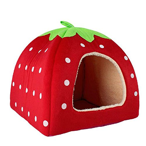 Generic Soft Strawberry Pet Cushion Basket Red M front-201748