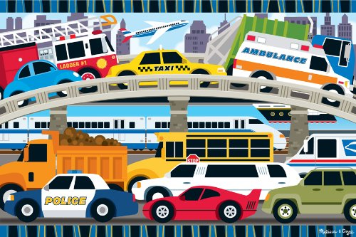 515M60nsvUL Cheap  Melissa & Doug Traffic Jam Floor Puzzle 2x3