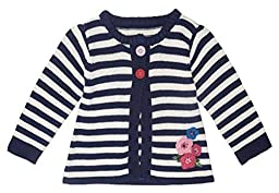 JoJo Maman Bebe Baby Girls\' Stripe Cardigan - Navy/Cream Stripe - 12-18 Months