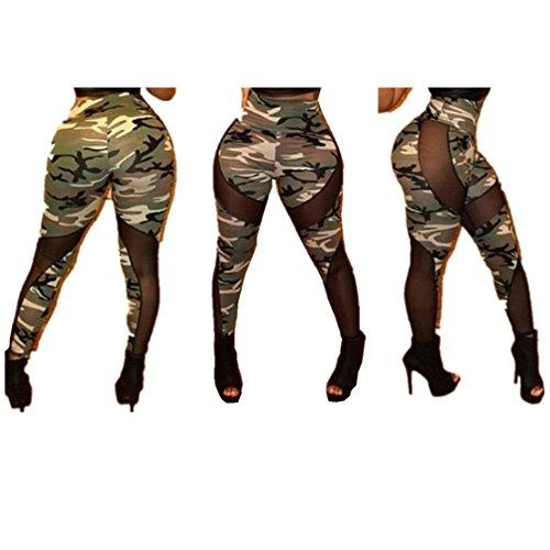 AUVS - Leggings sportivi - Pantalone capri -  donna Camouflage Milk Fiber & Black Mesh Taglia unica