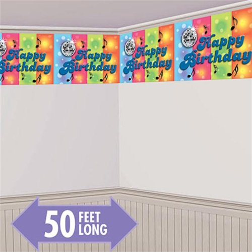 Disco Happy Birthday Banner Wall Decoration