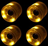 LED Skateboard Wheels 65MM YELLOW Glow Cruiser Longboard LIGHTS +ABEC 9 BEARINGS