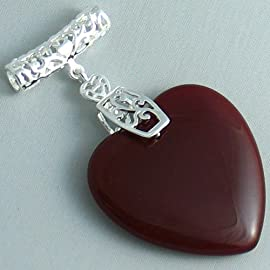 Silver Plated Red Garnet Pendant Heart - Ladies Necklace Charm with January Birthstone (1.5 inch)