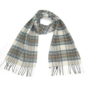 Muted Blue Dress Stewart Tartan Cashmere Scarf - Authentic Cashmere Scottish Scarves for Men & Women - Made in Scotland - Grey