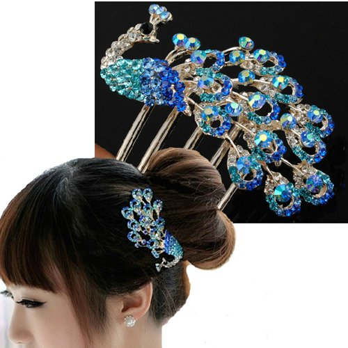 Colors Rhinestone Flower Peacock Tail Antique Tuck Hair Claw Hair Comb Hairpin 0