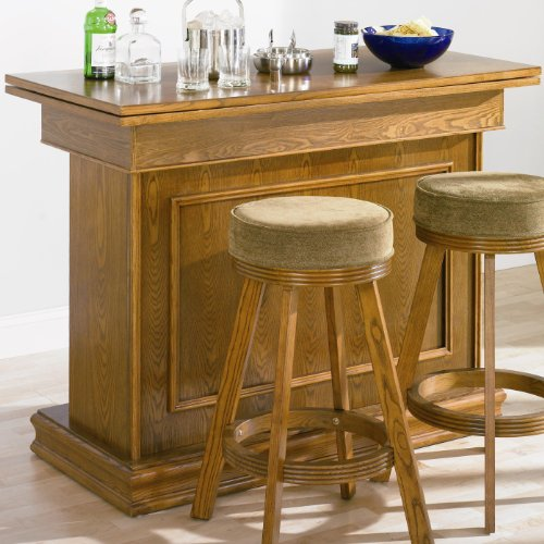Coaster All In One Game Table/Bar Unit With Wine Shelves Oak Finish front-612561