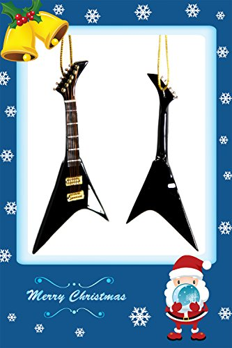 Musical Instrument Christmas Ornament Beautiful Black Flying V Electric Guitar (Electric Flying V Guitar compare prices)
