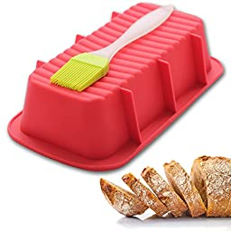 Loaf Pan - Best Bakeware for Baking Bread and Large Cakes - Includes a Free Basting Brush - Commercial Grade Non Stick Silicone Mold - Light Red