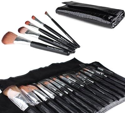 Bundle Monster New 15pc Pro Makeup Eye Shadow Brush Set + Eye Brush Case Black