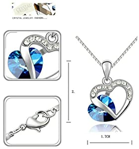 [Love of Crystal] Yoursfs 18k White Gold Plated Heart of Ocean Sapphire Necklace and Earring Set