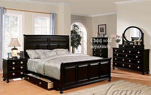 Bedroom Set with Silver Handles Black Finish