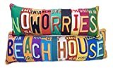 Bundle of 2 Manual Weavers License Plate Decorative Pillows - 28'' Beach House and 24'' No Worries Pillow
