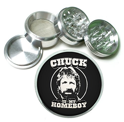 Chuck Is My Homeboy Funny Action Icon 4 Pc. Aluminum Tobacco Spice Herb Grinder (Funny Herb Grinder compare prices)