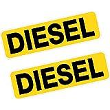 2x Reminder Diesel Fuel Printed Vinyl Stickers BLACK on YELLOW 80mm Car Van Taxi