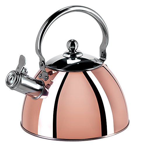 Oggi Copper Plated 2 Quart Stainless Steel Whistling Tea Kettle with Flip Open Spout