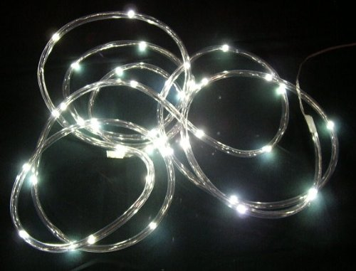 Clear Rope Battery Light With 40 Led Lights-15 Ft-White