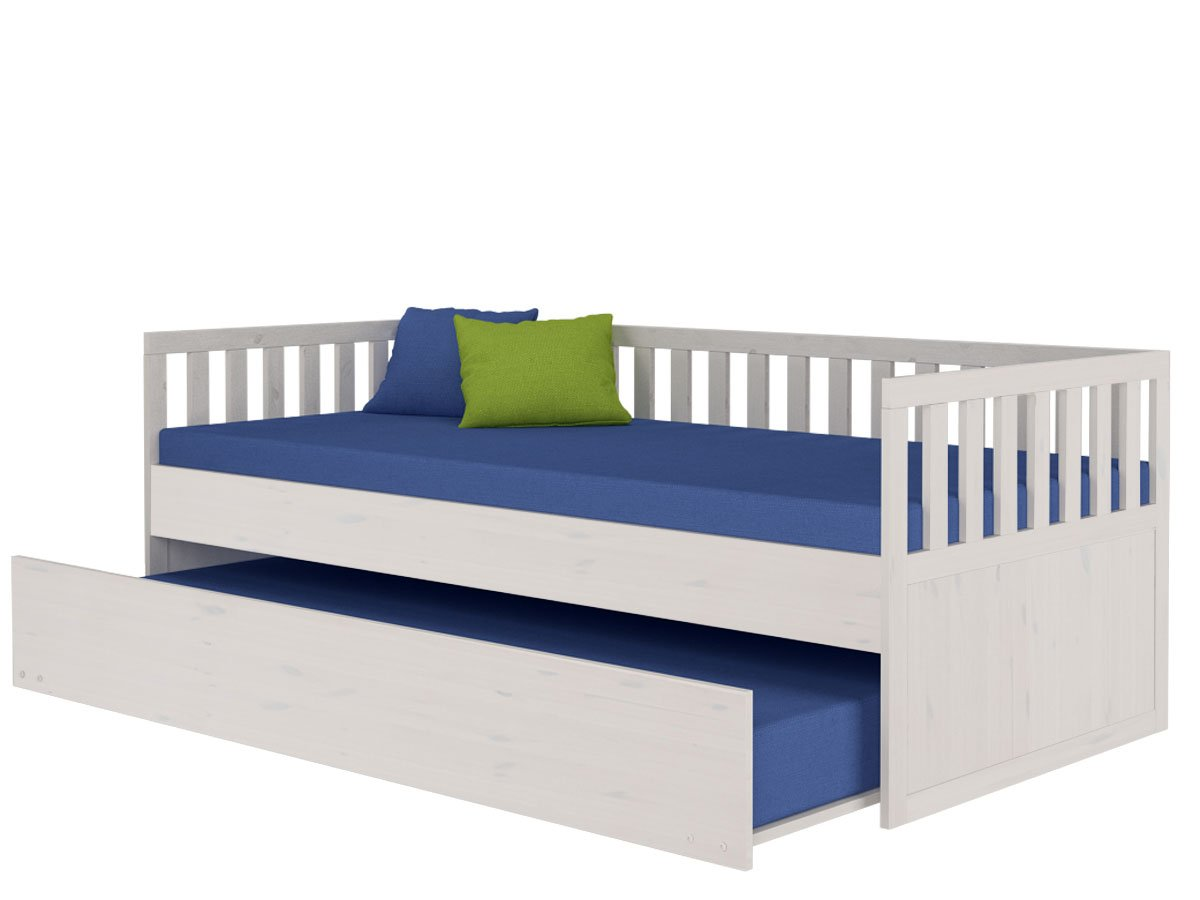 Bett PIUS 205 x 95 x 75 in weiß lasiert von Loft24 - 246016