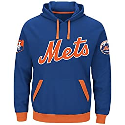 Men\'s Majestic Mets Third Wind Embroidered Pullover Hood Sweatshirt Royal/Orange Size Medium