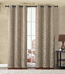 HLC.ME Stanton Energy-Saving Blackout Window Curtain Grommet Panels - Pair - 84