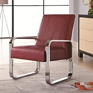 Coaster 900313 Vinyl Accent Chair With Chrome Arms And