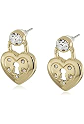 """Betsey Johnson """"Prisoner of Love"""" Heart Lock Stud Earrings"""