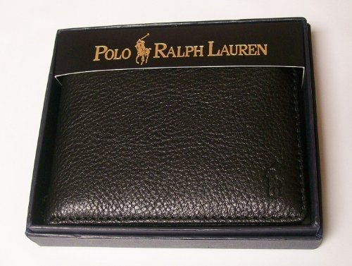 Polo Ralph Lauren Mens Black Leather Passcase Wallet