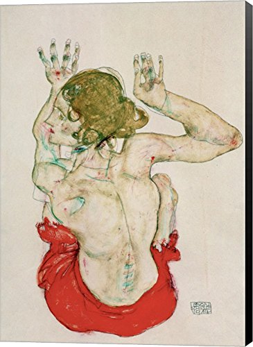 Female Nude Seated On Red Drapery, 1914 by Egon Schiele Canvas Art Wall Picture, Museum Wrapped with Black Sides, 14 x 20 inches