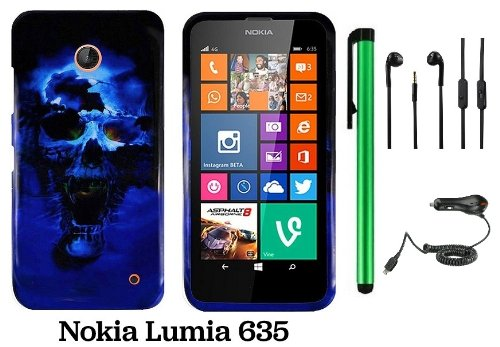 Nokia Lumia 635 (Us Carrier: T-Mobile, Metropcs, And At&T) Premium Pretty Design Protector Cover Case + Car Charger + 3.5Mm Stereo Earphones + 1 Of New Assorted Color Metal Stylus Touch Screen Pen (Blue Skull On Black)